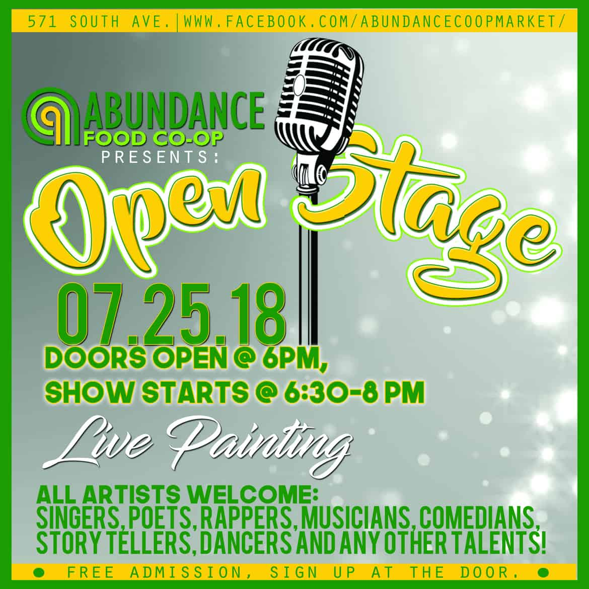 Open Stage on July 25 at 6 pm