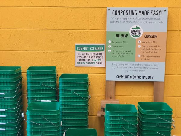 composting bin area